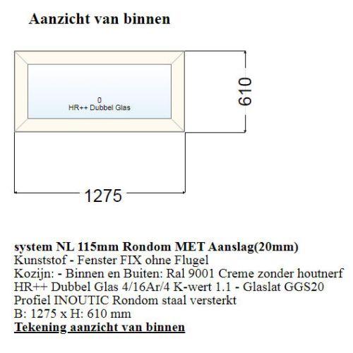 Vast Raam 1275mm Br x 610mm H